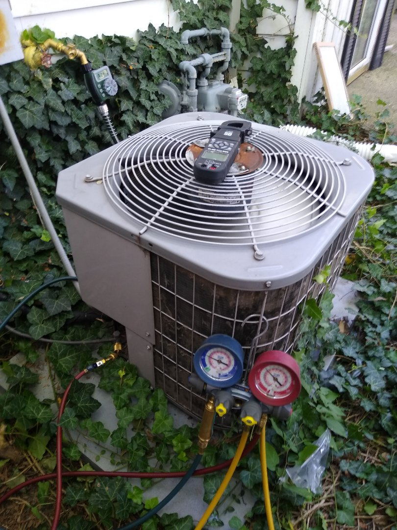 Des Plaines, IL - Service call for no cooling. Ac wasn't working. Carrier condenser fan motor was not working. Replaced dual capacitor   added .5 lbs or r-22 refrigerant as superheat was very high and delta was low. Added hard start kit for longevity. Unit is up and running well