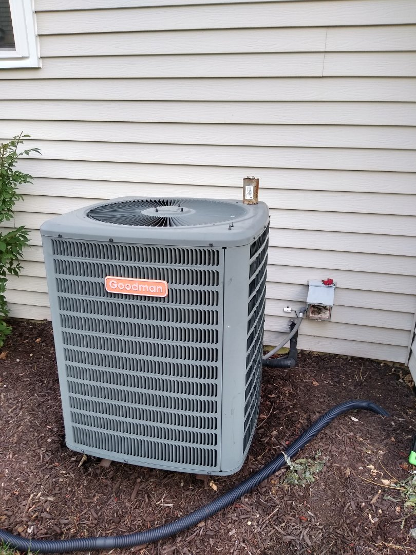 Palatine, IL - Service call for no cooling. Found goodman AC condenser not running due to a blown dual capacitor. Replaced and running.