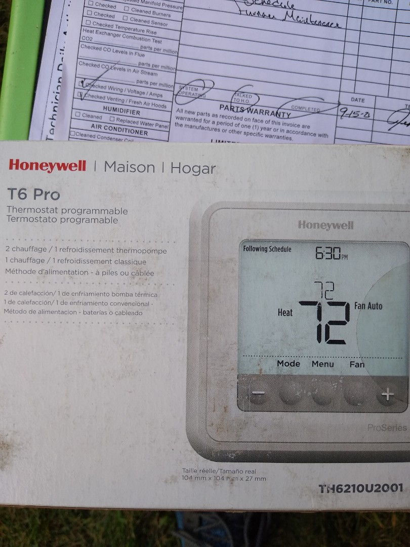 Elk Grove Village, IL - Service call for thermostat. Stat was bad. Replaced with new Honeywell thermostat