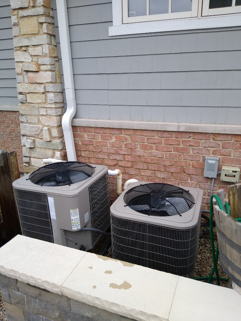 Hinsdale, IL - Dual Combo preventive maintenance on Air conditioner and high efficiency bryant furnaces. Replaced aprilaire steam canisters and replaced a low dual capacitor on outdoor condenser