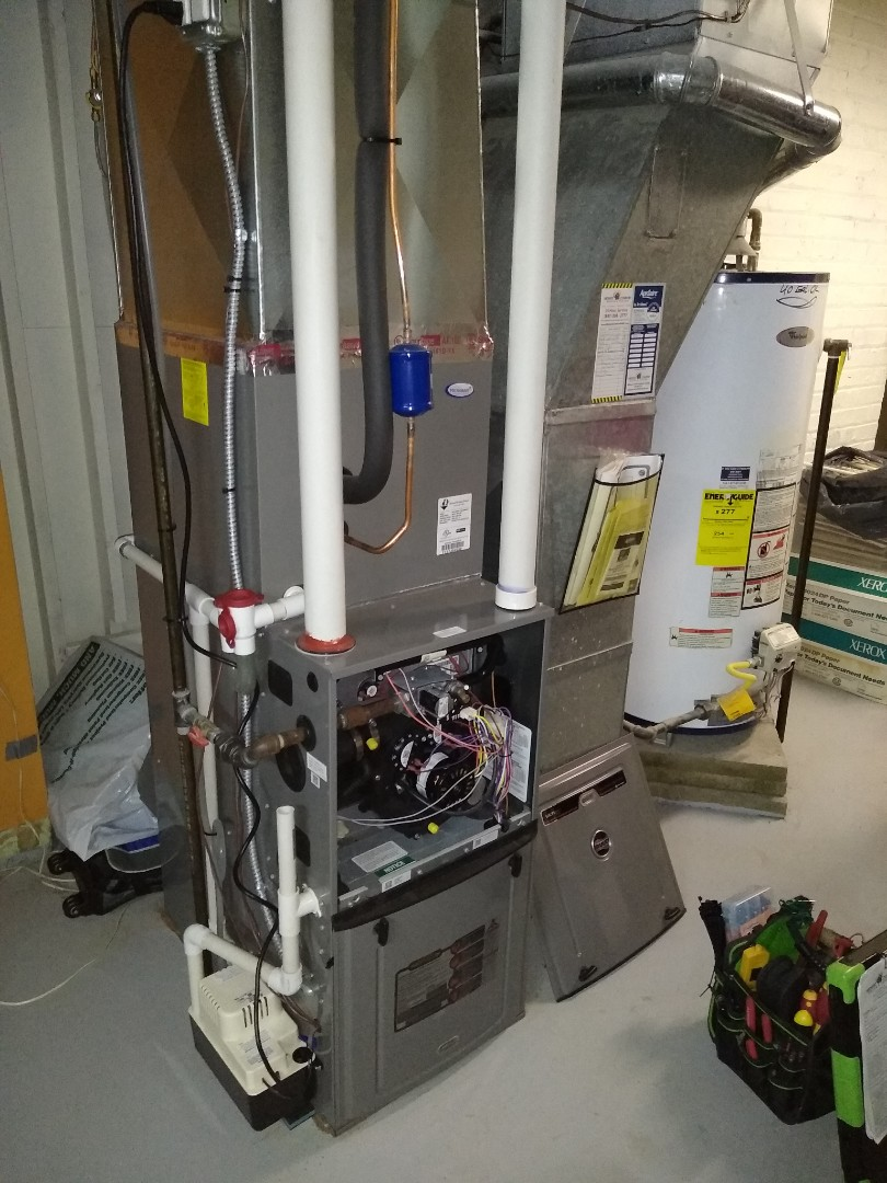 Mount Prospect, IL - Furnace tune up and preventive maintenance on Ruud 96% variable speed unit. Replaced humidipro in line water filter and aprilaire water panel. Also treated the scale in the condensate pump with cleaning tablets.