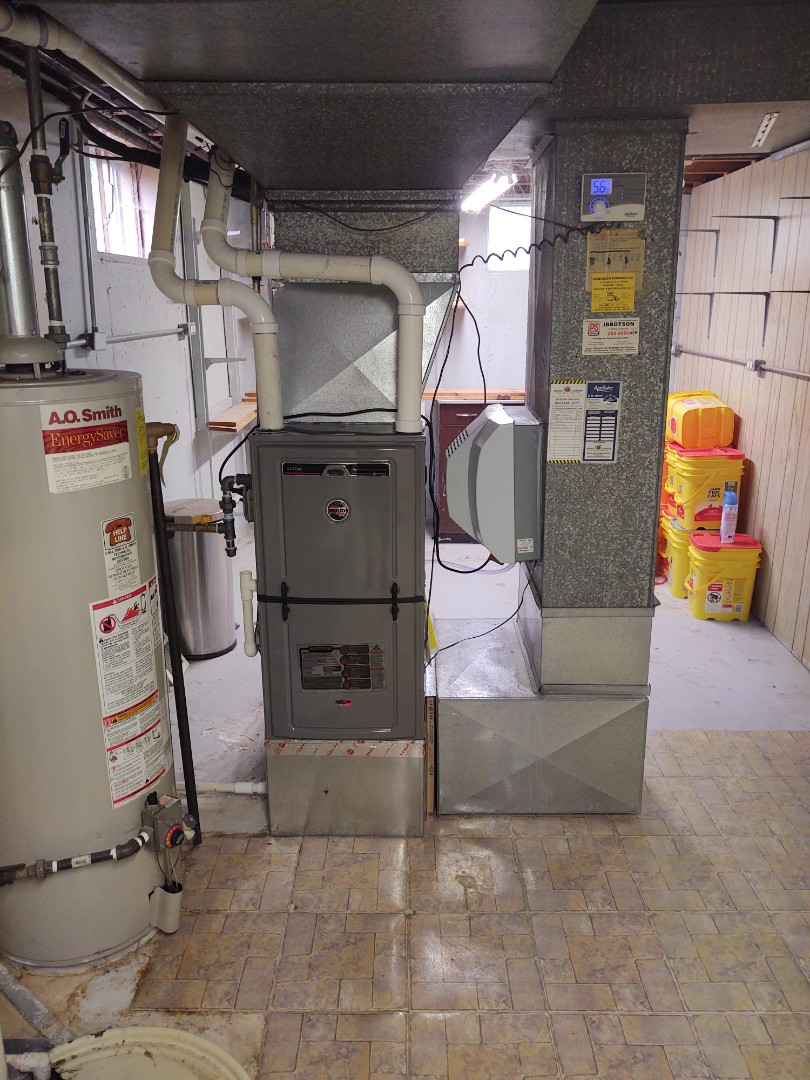 HVAC installation We replaced an existing Lennox 90% furnace and installed a Rheem / Ruud 96% u96v 2 stage variable speed.