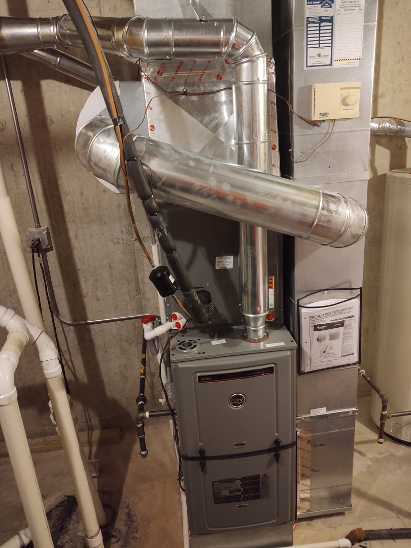 HVAC installation We installed a Rheem/Ruud u802v 2 stage variable speed 80% furnace with matching indoor evaporator coil and ra13 13 seer air conditioner. We also added an Aprilaire 600 humidifier.