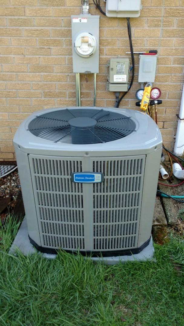 Mount Prospect, IL - Air conditioning maintenance call. Performed air conditioning maintenance on American Standard unit.