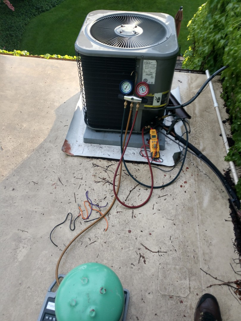 Mount Prospect, IL - Replaced an OEM Lennox Condenser fan motor and recharged the AC with r22 freon