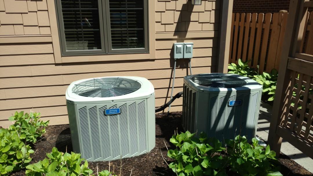 Mount Prospect, IL - Air conditioner maintenance call. Performed air conditioning maintenance on American Standard units.