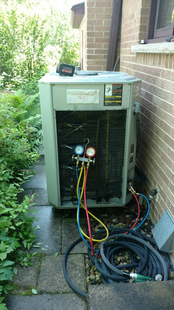 Park Ridge, IL - Air conditioner maintenance call. Performed air conditioning maintenance on Trane unit.