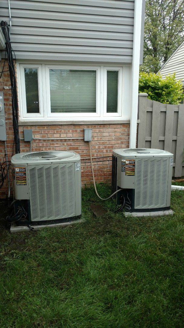 Des Plaines, IL - Air conditioner maintenance call. Performed air conditioning maintenance on American Standard units