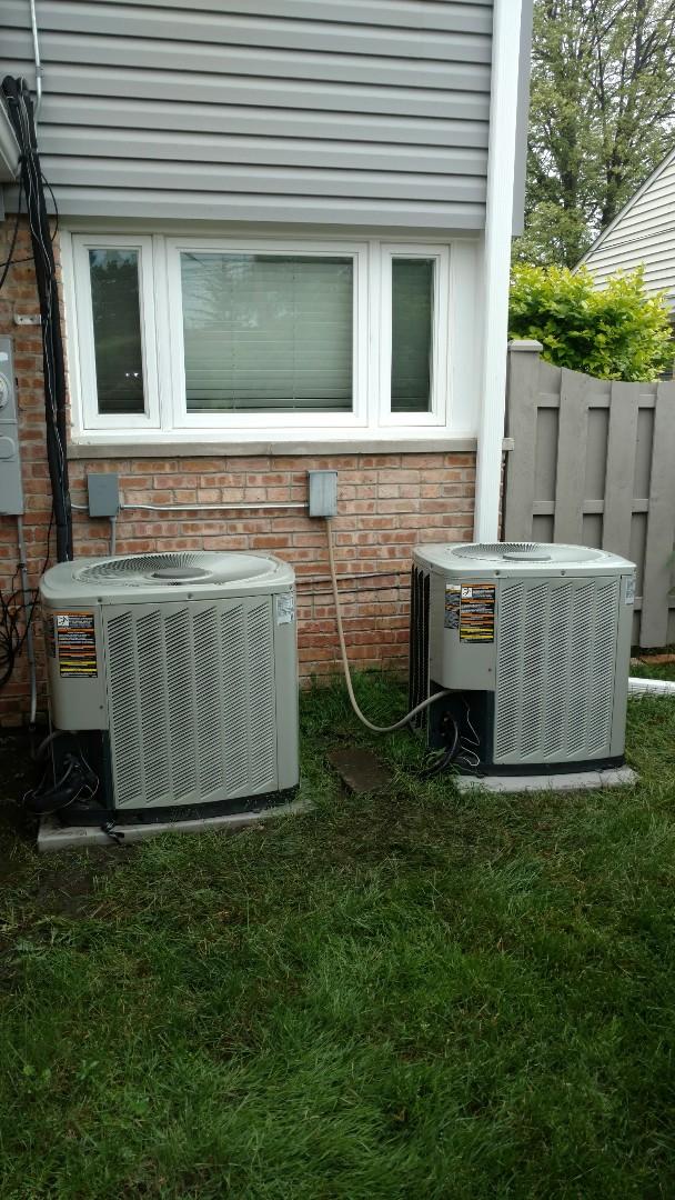 Des Plaines, IL - Air conditioner maintenance call. Performed air conditioning maintenance on American Standard units