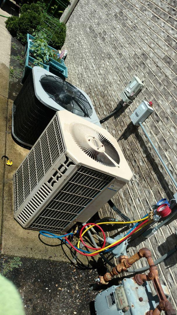 Mount Prospect, IL - Air conditioner maintenance call. Performed air conditioning maintenance on York units