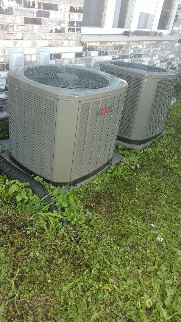 Mount Prospect, IL - Air conditioner maintenance call. Performed air conditioning maintenance on Trane units.