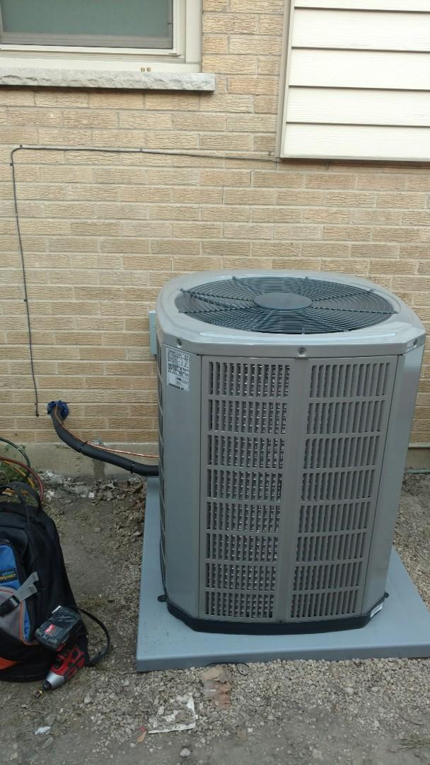 Mount Prospect, IL - Air conditioner installation call. Performed air conditioner installation on American standard unit.
