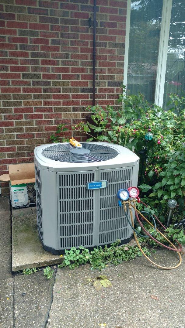 Mount Prospect, IL - Air conditioner maintenance call. Performed air conditioning maintenance on American standard unit.