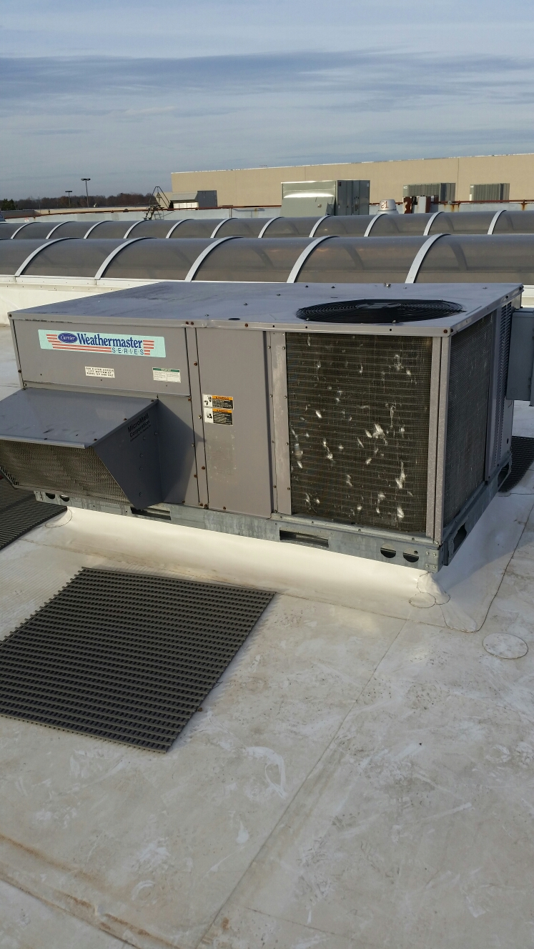 Columbia, MO - Doing a fall maintenance on a carrier rooftop furnace