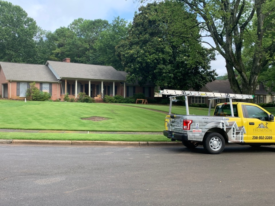 Huntsville, AL - Another professional roofing job in Huntsville. Call Thompson Roofing and Construction for your roof replacement or repairs with all of this rain!