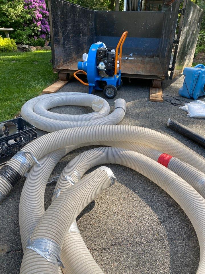 Morristown, NJ - Preparing to remove old blown in fiberglass insulation in Morristown, NJ