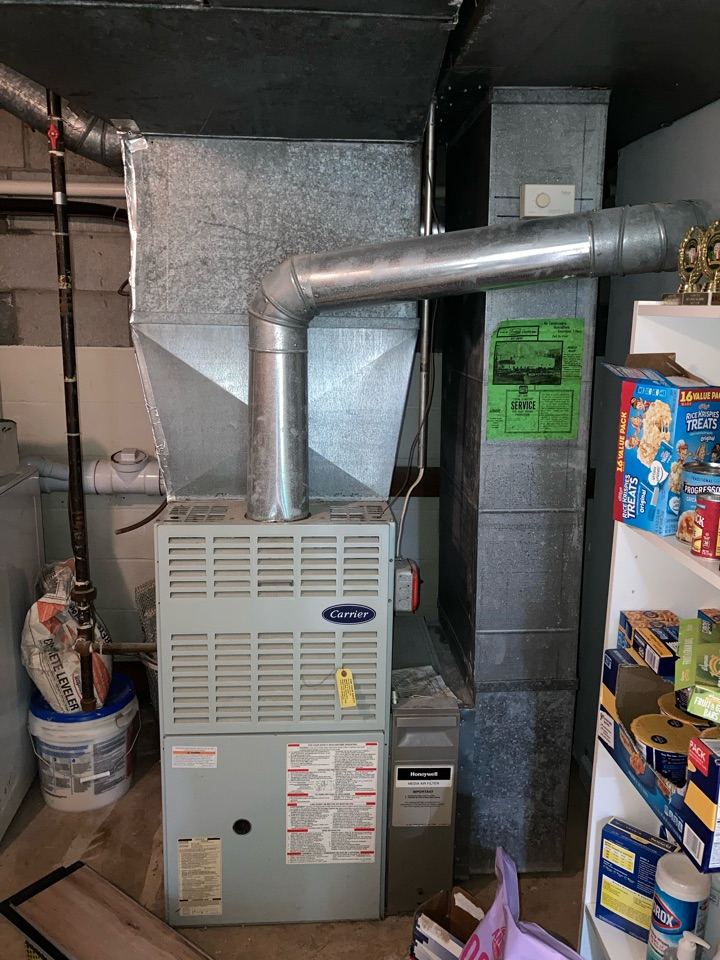 Replacement of Carrier central air conditioning system in Mendham.