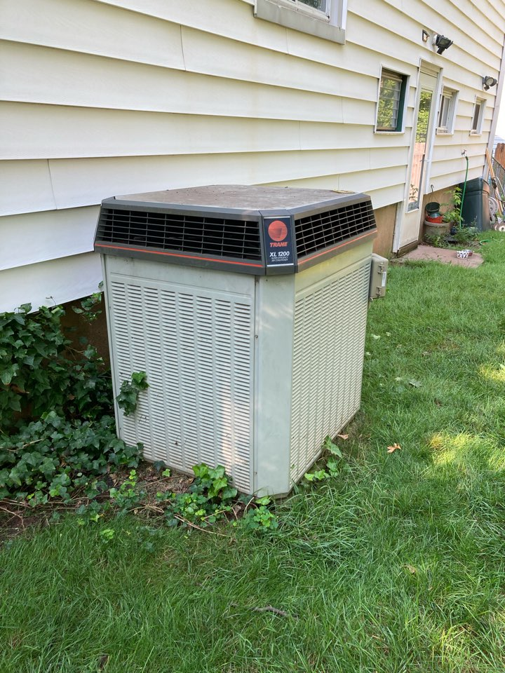 Replacement of Trane central air conditioning system in Roselle.