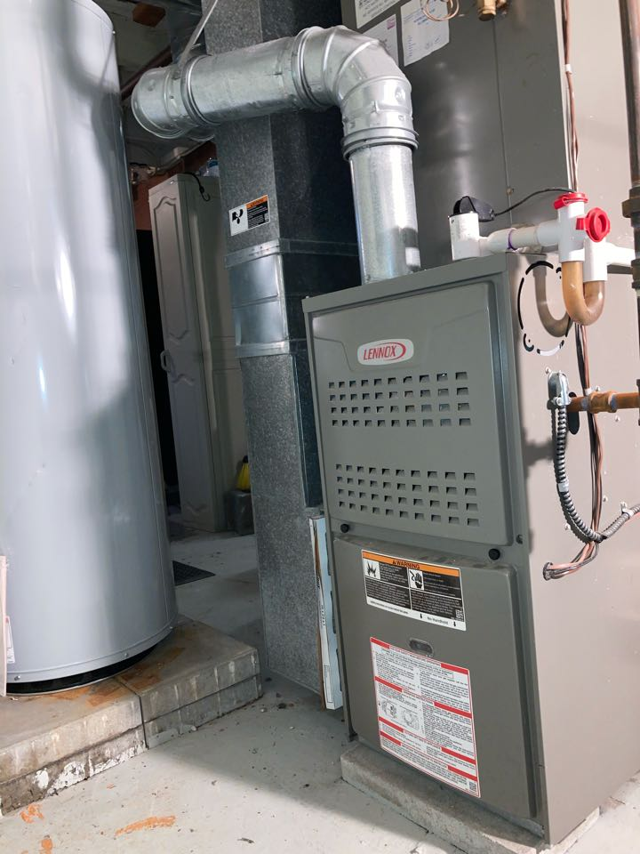 Replacement of Lennox gas furnace and air conditioning system in Dunellen.