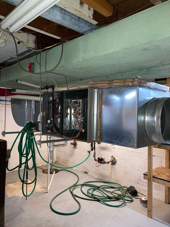 Replacement of York gas furnace and air conditioning system in Dunellen.
