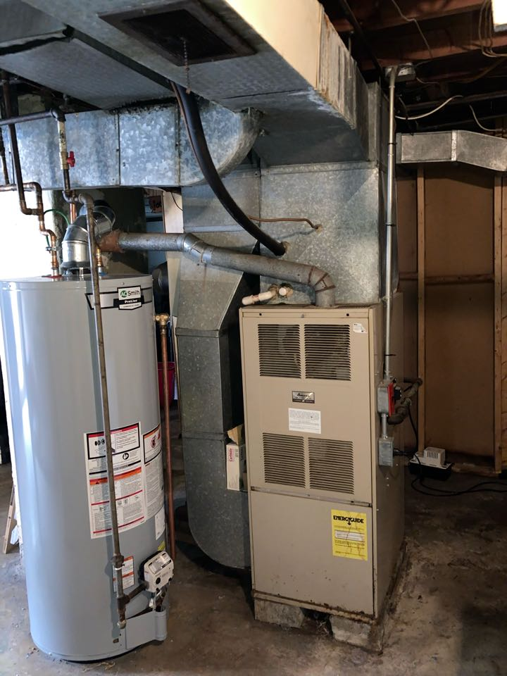 Replacement of Amana gas furnace and air conditioning system in Cranford.