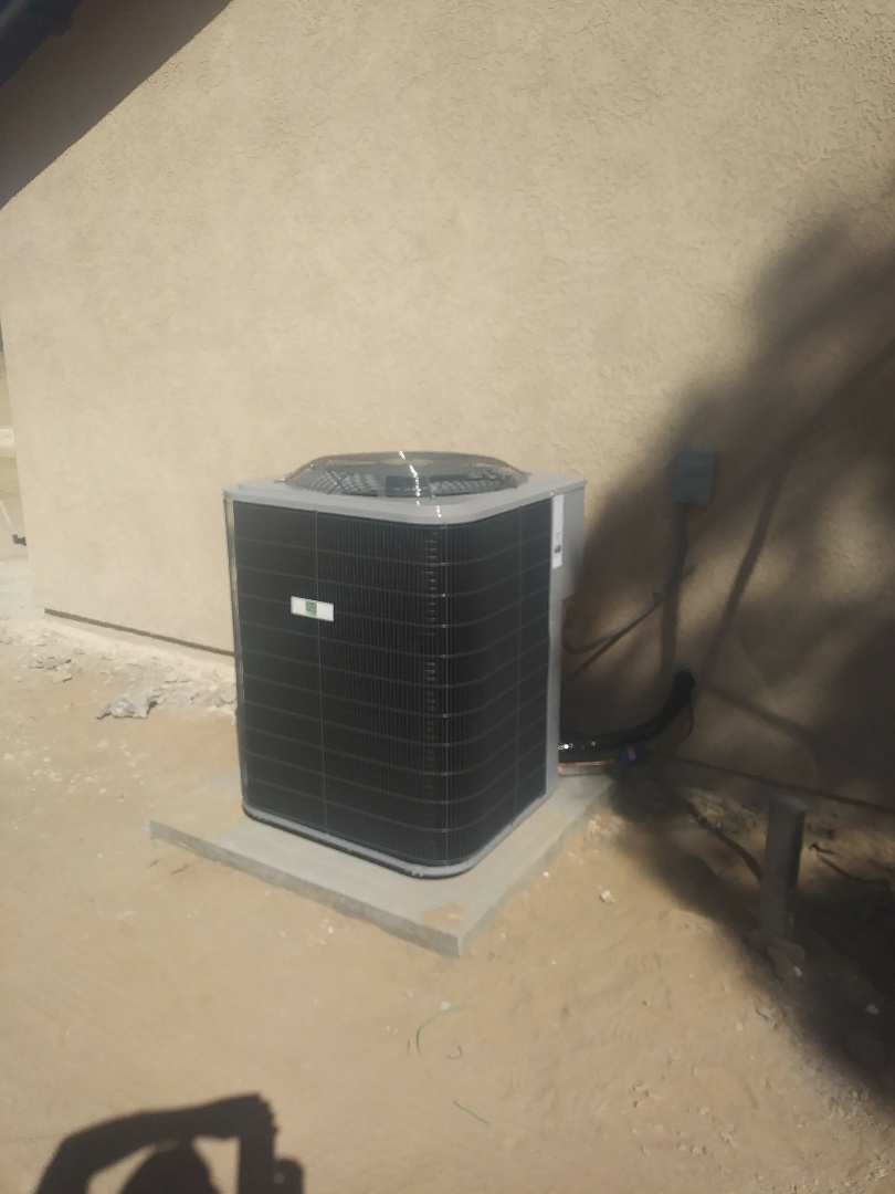 Hesperia, CA - 10/4/18. Hesperia. Residential home. Finish. Installing day and night 4 ton 16 seer condensing unit, bar type registers, fireplace doors.