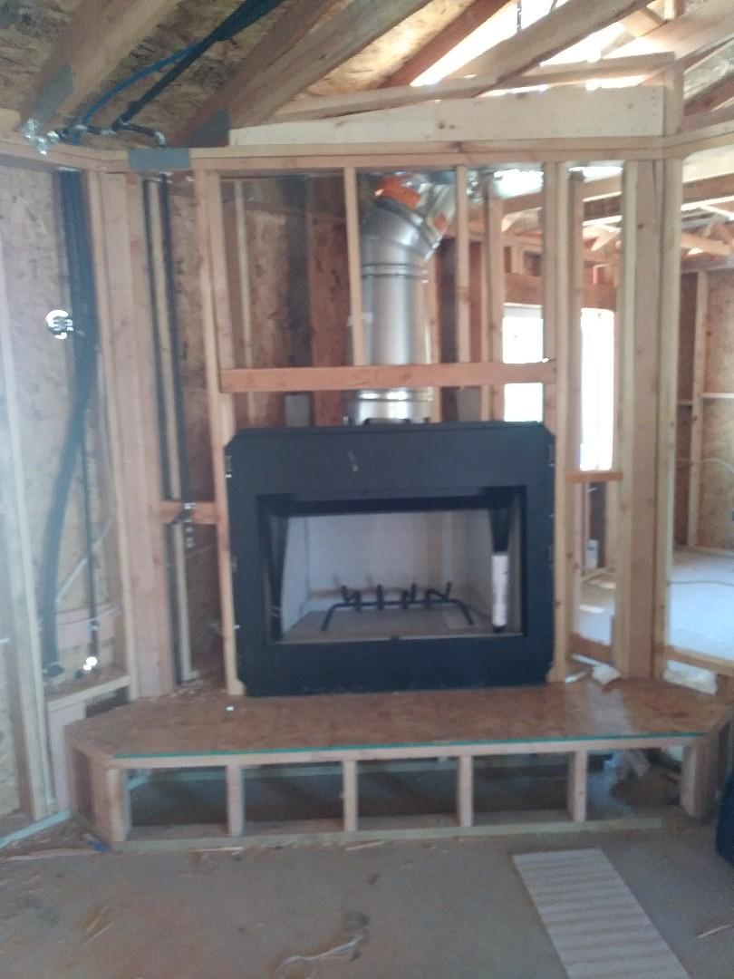 Hesperia, CA - 9/14/18. Hesperia. Residential home. Installing Astria 42 fireplace.