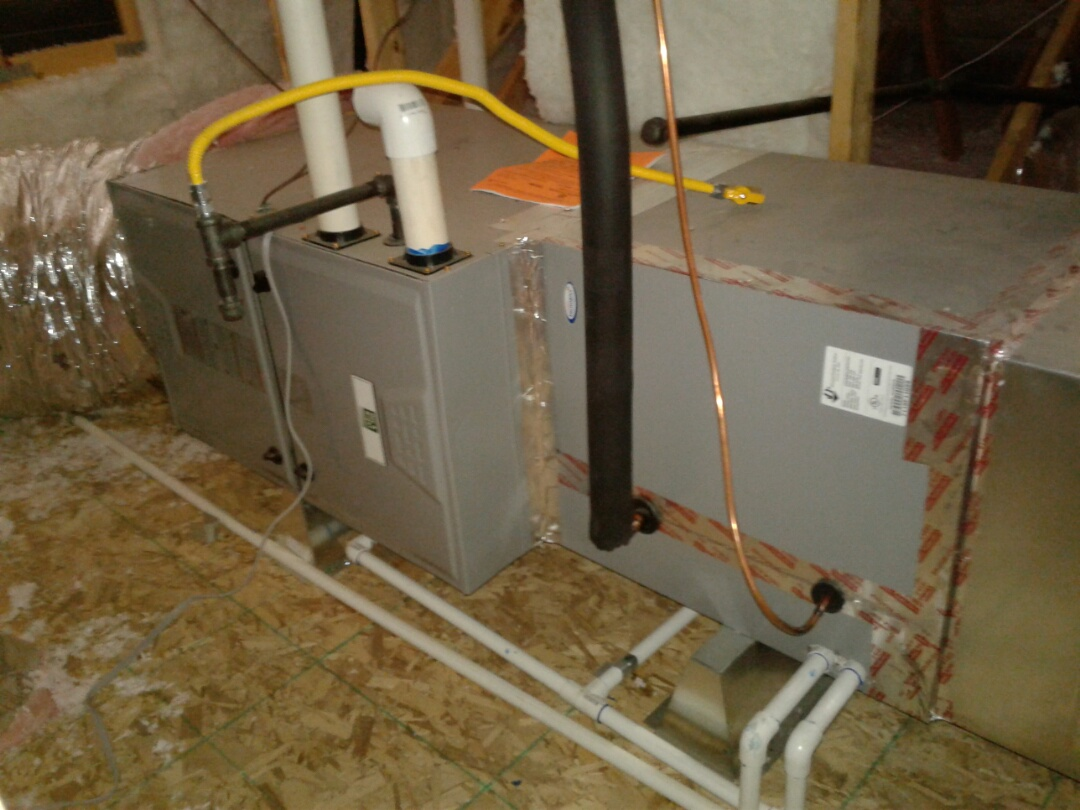Hesperia, CA - Installed new 4 ton 96% day and night heater and 410A air conditioning system. With new R-8 ducting.