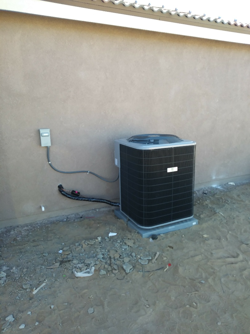 Hesperia, CA - 10/10/18. Hesperia. Residential home. Finish. Installing day and night 5 ton 16 seer condensing unit, bar type registers, fireplace.