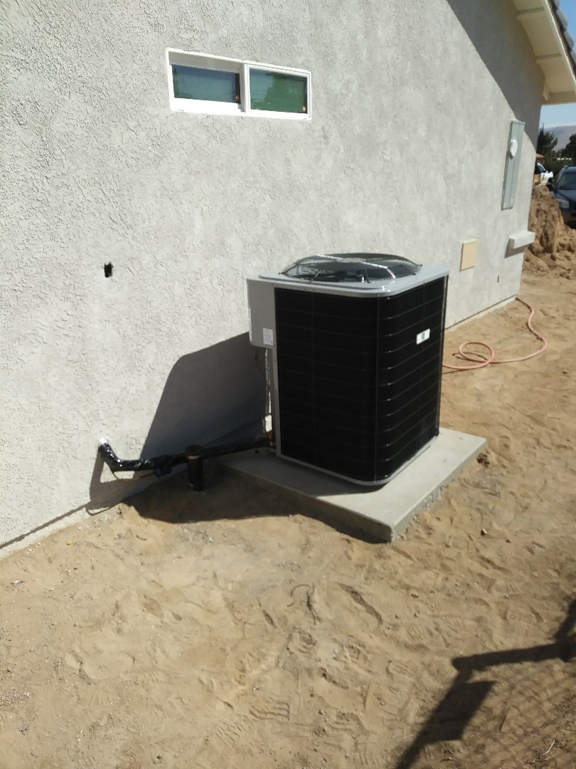 Hesperia, CA - 10/11/18. Hesperia. Residential home. Finish. Installing day and night 4 ton 16 seer condensing unit, bar type registers, fireplace doors.