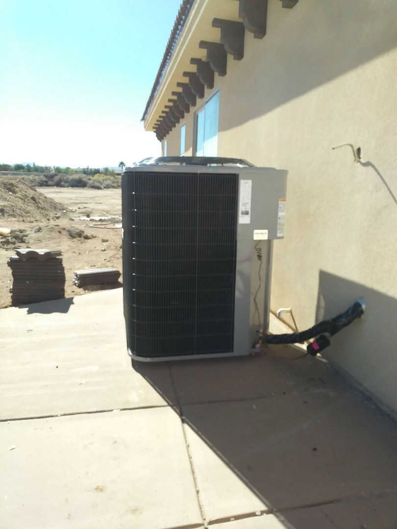 Oak Hills, CA - 11/5/18. Oak hills. Residential Home. Finish. Installing 5 ton 16 seer condensing unit, bar type registers