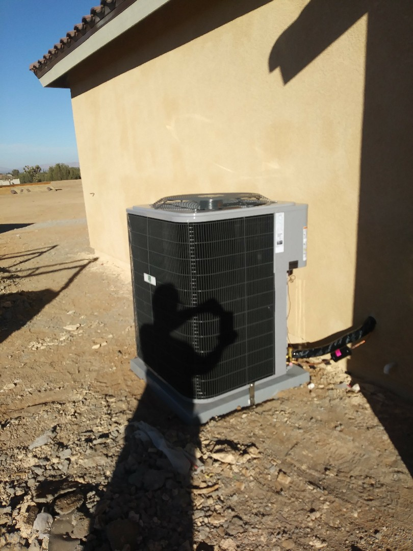Hesperia, CA - 11/5/18. Hesperia. Residential Home. Finish. Installing day and night 5 ton 16 seer condensing unit, bar type registers, fireplace doors.