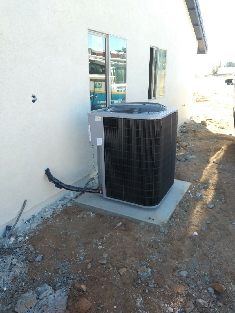 Hesperia, CA - 11/27/18. Hesperia. Residential Home. Finish. Installing day and night 4 ton 16 seer condensing unit, bar type registers, Fireplace doors.