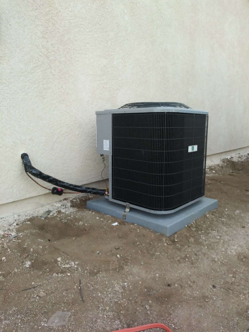 Hesperia, CA - 11/27/18. Hesperia. Residential home. Finish. Installing day and night 3 ton 14 seer condensing unit, bar type registers.