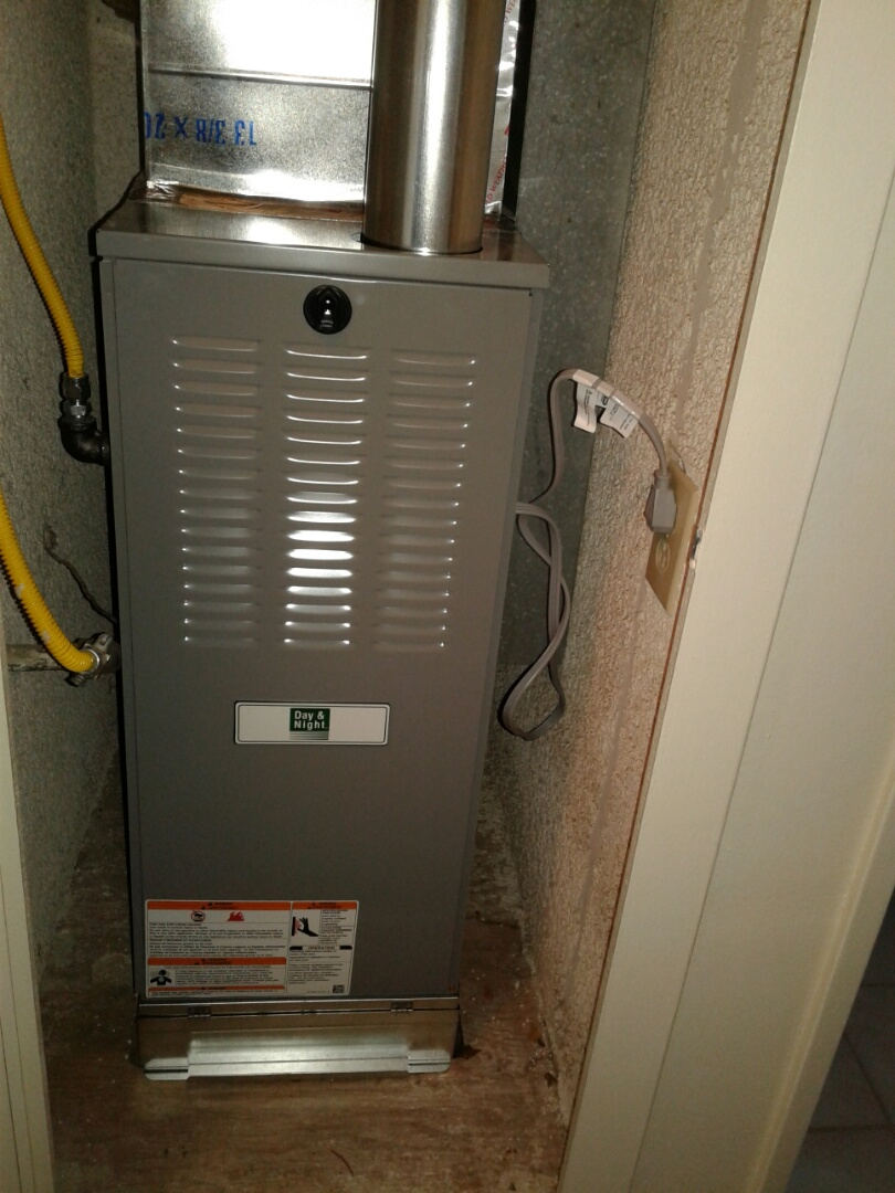 Hesperia, CA - Installed new day and night 70k btu heater with new gas flex, pigtail  flu pipe and 14x25x1 filter rack
