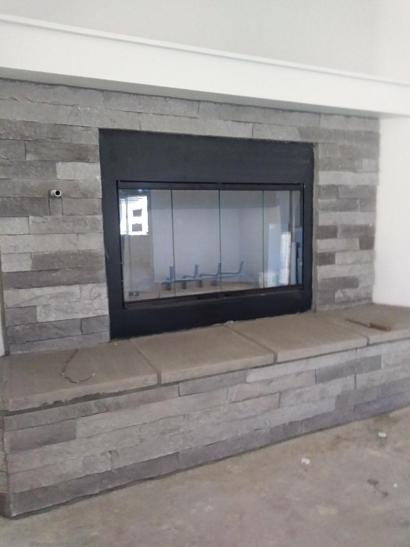 Hesperia, CA - 12/12/18. Hesperia. Residential Home. Installing bar type registers, Fireplace doors.