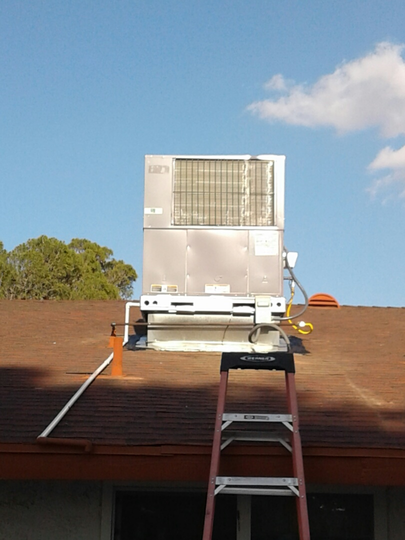 Apple Valley, CA - Installed new 5 ton 410A Day and Night package unit with new roof curb and sealed around curb flashing