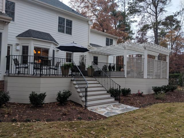 Cary, NC - Triangle Home Exteriors has done it again.  An outstanding party deck with hot tub, electrical outlets and more!!