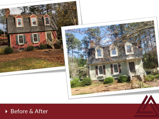 Raleigh, NC - James Hardie siding installation by Triangle Home Exteriors.  We added a new portico on the front to set off the new look.