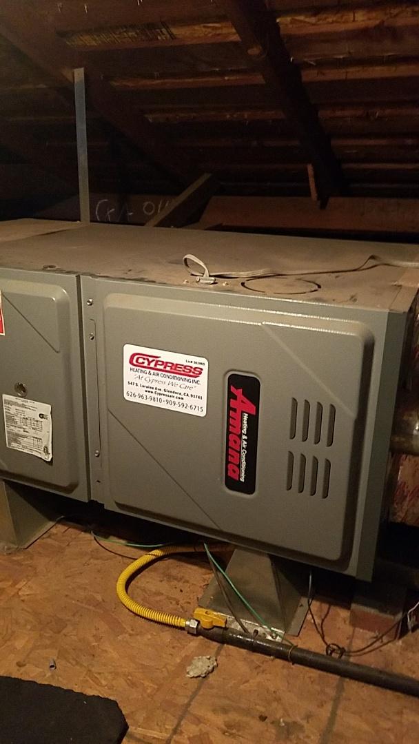 Glendora, CA - Diagnostic service to Amana furnace.