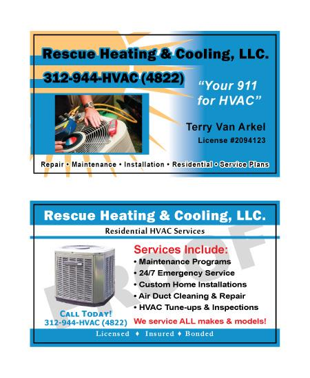 Real time service area for value printing chicago il created rescue heating and cooling hvac business cards customer design included logo reheart Images