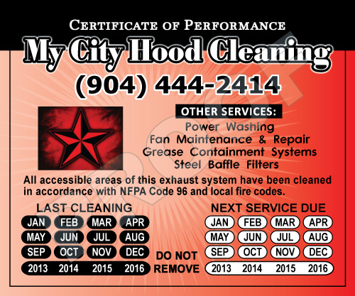 Jacksonville, FL - Created for My City Hood Cleaning, custom Hood Stickers