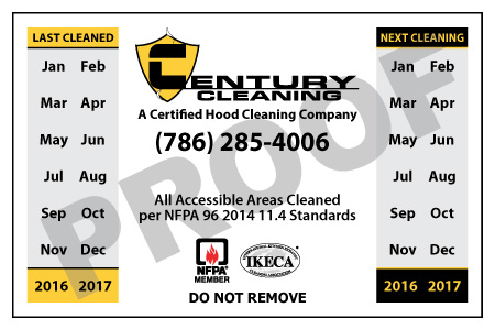Miami, FL - Created Hood Equipment Stickers for Century Cleaning.
