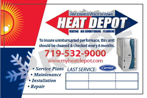 Colorado Springs, CO - Order of customized HVAC service stickers for the Heat Depot.
