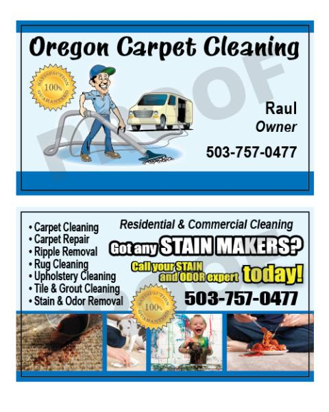 Troutdale, OR - Order of customized carpet business cards for Oregon Carpet Cleaning.