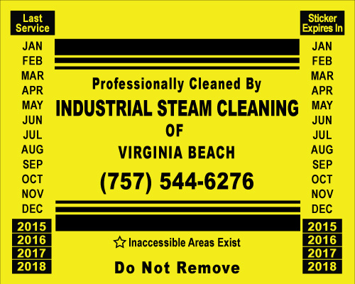 Virginia Beach, VA - Order of customized hood stickers for Industrial Steam Cleaning of VA Beach.