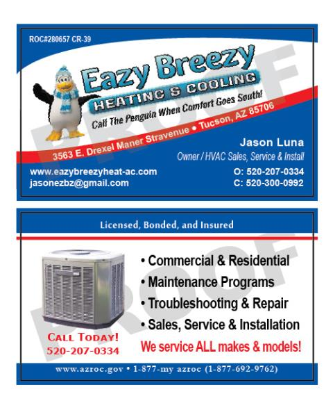 Tucson, AZ - Reorder of HVAC business cards for Eazy Breezy Heating and Cooling LLC.