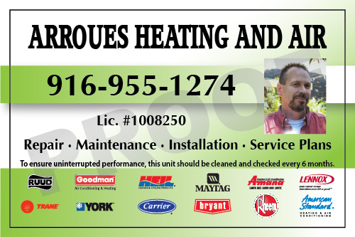 Orangevale, CA - Completed full color HVAC equipment stickers and Thermostat Weatherproof stickers for Arroues Heating & Air.  Call Value Printing today for all your sticker needs.