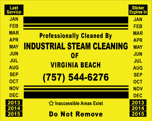 Virginia Beach, VA - Completed a reorder  for Customer Hood Stickers for Industrial Steam Cleaning of Va Beach.