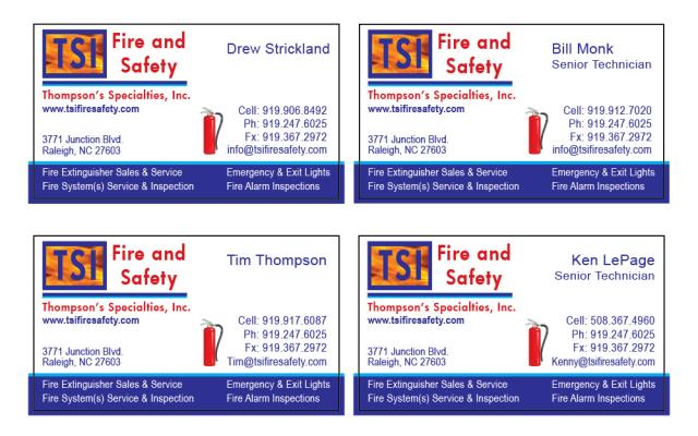 Real time service area for value printing apex nc completed a reorder of custom hood cleaner business cards for tsi fire safety with customers reheart Choice Image